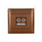 Phone Socket RJ11 Double Rhyme Coffee Metallic