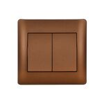 Switch 2 Buttons 1 Way K/R Rhyme Coffee Metallic