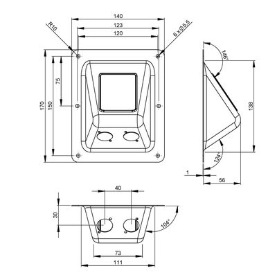 Recessed Speakon Plate for PA/DJ Speaker Cabinets In type