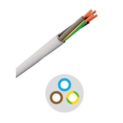 Round Flexible Cable 3x4.00mm White H05VV-F