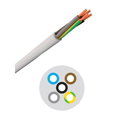 Round Flexible Cable 5x0.75mm White H05VV-F